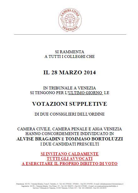 Manifesto votazioni suppletive 2014