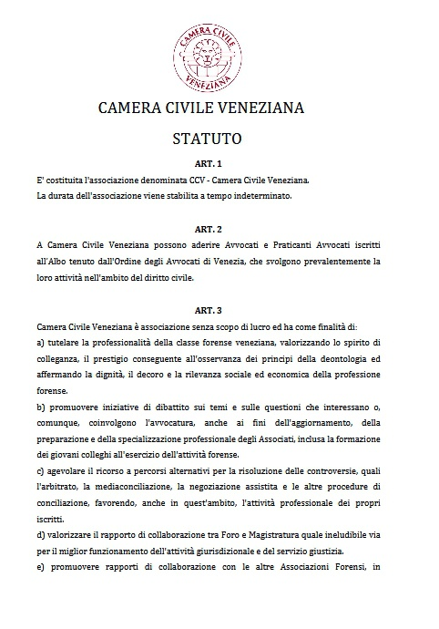 Statuto CCV 2015